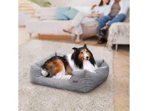 Pelíšky pro malé psy šedý pratelný 80x60 cm
