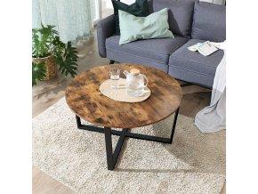 konferenční stolek kulatý hnědý 88 cm