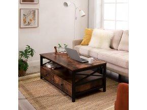 Konferenční stolek se zásuvkami, hnědý 100x50 CM