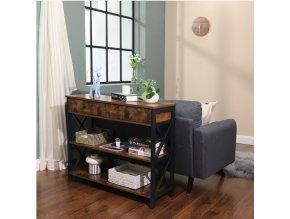 Konzolový stolek se zásuvkami, hnědý 100x80 CM