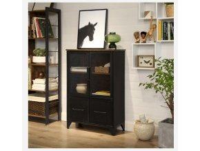 skříňka s drátěnými dvířky průmyslový design hnědá černá