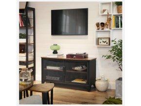 televizní stolek industriální drátěná dvířka hnědá černá