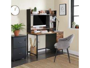 psací stůl industriální s policemi hnědý černý