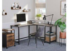 PC stůl rohový šedý béžový industriální design