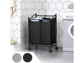 koš na prádlo černý 2 díly pojízdný