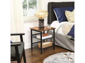 noční stolek industriální design hnědý černý