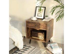 noční stolek zásuvka hnědý retro design