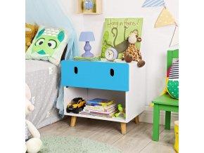 Dětský noční stolek s úložným prostorem modrý