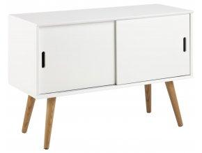 tv stolek bílý dřevěné nohy