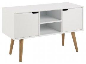 televizní stolek bílý dřevěné nohy