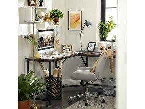 pracovní stůl rohový hnědý černý