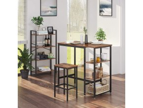 vysoký barový stůl hnědý černý