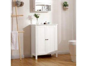 bílá koupelnová skříňka s dvířky