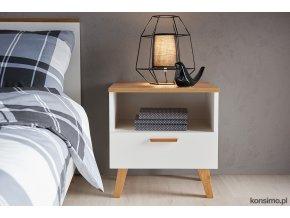 moderní noční stolek dub bílý