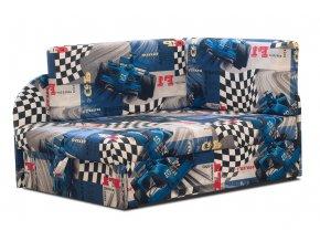Rozkládací dětská pohovka FANIS modrá auta 01