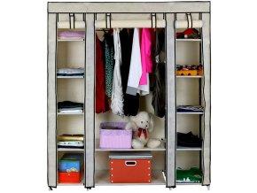 Látková šatní skříň (béžová) 2