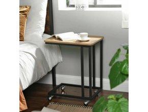 Pojízdný boční stolek světlé dřevo s kolečky