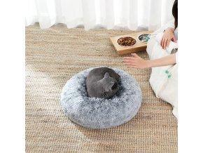 plyšový kulatý pelíšek šedý