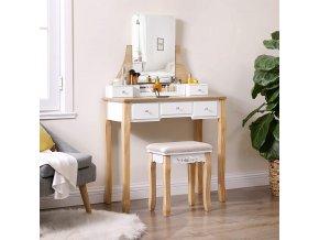 toaletka se stoličkou dub bílá