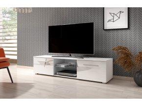 Televizní stolek MOON 140 2K, bílý vysoký lesk