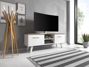 Televizní stolek Nord 140, 2K, bílý mat/craft taboco
