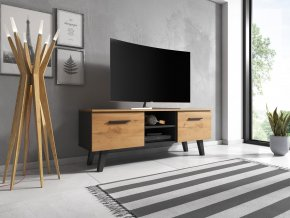 Televitní stolek Nord 140, 2K, černý mat/craft zlatý