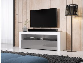 Televizní stolek Mex 140, 2K, bílý/šedý lesk