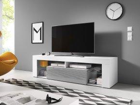 Televizní stolek Everest 160, 2K, bílý mat/šedý lesk