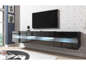 Televizní stolek RITA DOUBLE černý, s LED osvětlením