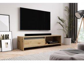 Televizní stolek LINE 140 dub artisan/grafit