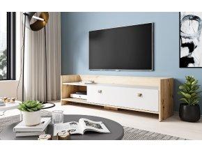 Televizní stolek OPEN 140, dub artisan/bílý