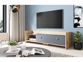 Televizní stolek OPEN 140, dub artisan/grafit