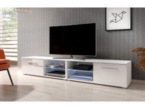 Televizní stolek MOON DOUBLE (200) bílý, s LED osvětlením