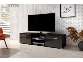 Televizní stolek MOON 140 černý, s LED osvětlením