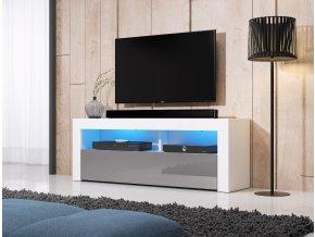 Televizní stolek MEX 140 cm bílý/šedý s LED osvětlením