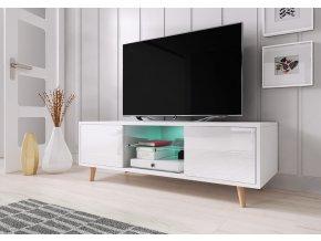 Televizní stolek Sweden bílý s LED osvětlením