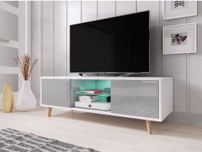 Televizní stolek Sweden bílý/šedý s LED osvětlením