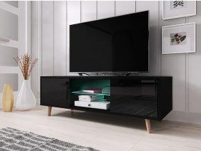 Televizní stolek Sweden černý s LED osvětlením