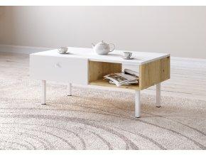 Konferenční stolek TULIA LE dub/bílá 2K