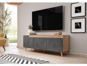 Televizní stolek TUE 140 zlatý dub šedý beton
