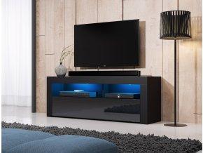 Televizní stolek MEX 140 černý černý lesk LED
