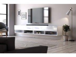 Televizní stolek  DERBY 200 bílý mat/bílý lesk