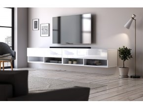 Televizní stolek DERBY 280 bílý mat/bílý lesk