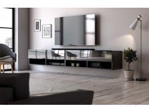 Televizní stolek  Derby 280 černý mat/černý lesk
