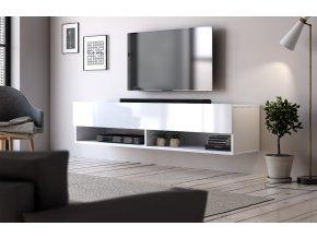 Televizní stolek DERBY 140 bílý mat/bílý lesk