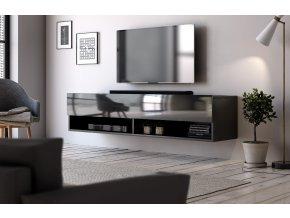 Televizní stolek DERBY 140 černý mat/černý lesk