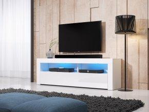 Televizní stolek Mex 160 bílý, s LED osvětlením