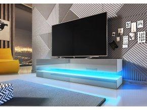 Televizní stolek FLY bílý/šedý s LED osvětlením