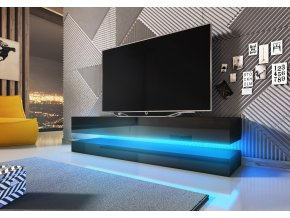Televizní stolek FLY černý mat / černý lesk s LED osvětlením
