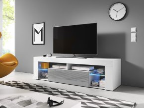 Televizní stolek Everest 140 cm bílo/šedý s LED podsvícením